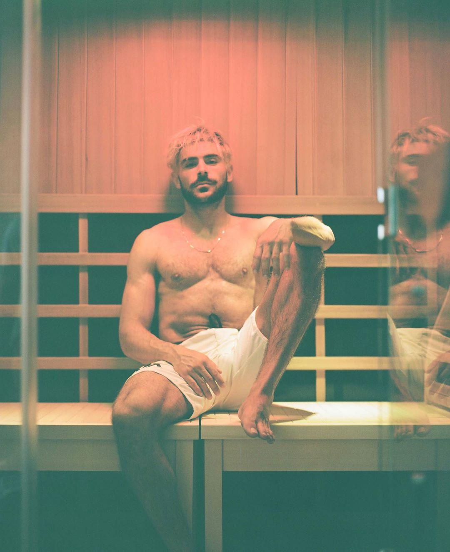 zac efron in sauna instagram photo