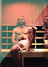 Zac Efron in sauna enhanced photo