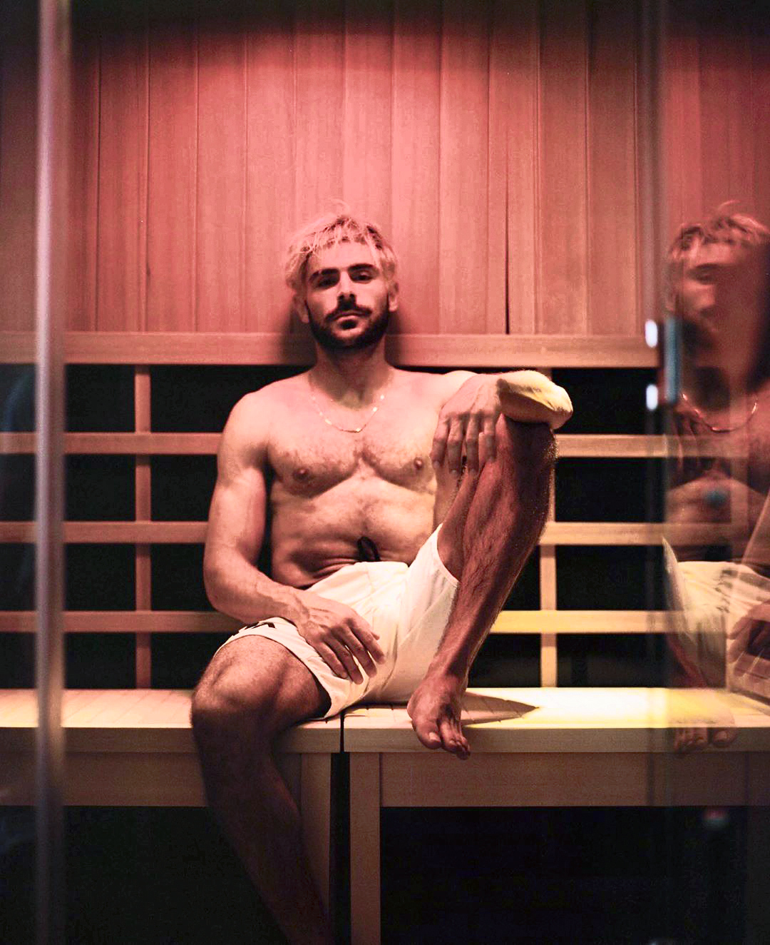 zac efron in sauna instagram photo